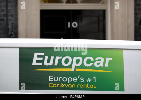 London, UK. 28th November 2018. Downing Street, London. Europcar hire van ironically arrives at 10 Downing Street Credit: PjrFoto/Alamy Live News - Stock Photo