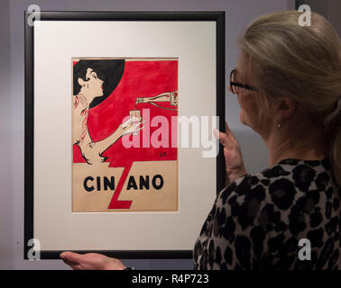 Mayfair and St. James's, London, UK. 28 November, 2018. London Art Week combines special selling exhibitions and auctions with one-off events exploring 5,000 years of fine art. Talks and discussions cover a wide range of subjects, including a vibrant exhibition of early 20th century commercial illustration. Image: Cinzano, René Gruau. Stephen Ongpin Fine Art. Credit: Malcolm Park/Alamy Live News. - Stock Photo