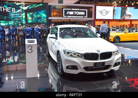 Nonthaburi, Thailand. 28th Nov 2018. BMW 320d GT M Sport car on display at The 35th Thailand International Motor Expo on November 28, 2018 in Nonthaburi, Thailand. Credit: Chatchai Somwat/Alamy Live News - Stock Photo