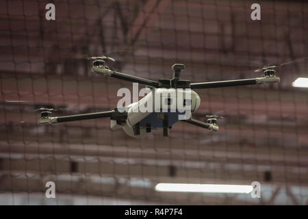 London, UK. 28th Nov 2018. Drone testing at the International Security Expo 2018 in London Olympia Credit: Paul Quezada-Neiman/Alamy Live News - Stock Photo