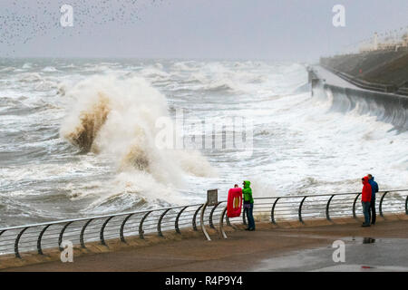 Blackpool, Lancashire. 28th Nov 2018. UK Weather: Storm Diana batters UK with heavy rain and 70mph Gale force winds.  A spell of heavy rain and strong winds is with weather warnings issued with some short-term loss of services as winds strengthen. Credit; MediaWorldImages/AlamyLiveNews. - Stock Photo