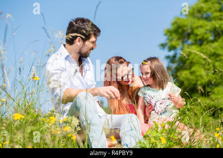 Family playing with wildflowers on meadow - Stock Photo