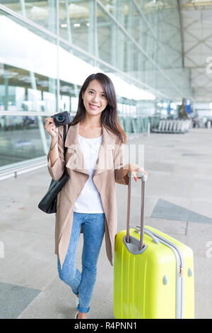 Woman ready to go travel - Stock Photo