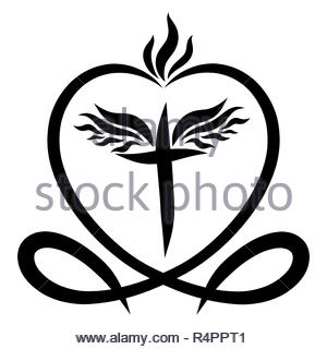 Black Heart With White Cross Christian Symbols Stock Photo