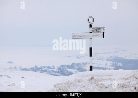 A traditional UK road sign for motorists visiting the North Yorkshire Moors on the A169 between Goathland, Pickering & Whitby - Stock Photo