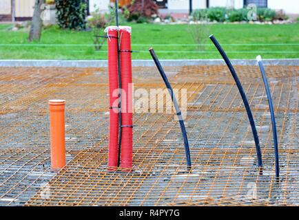 Conduits in House Foundations - Stock Photo