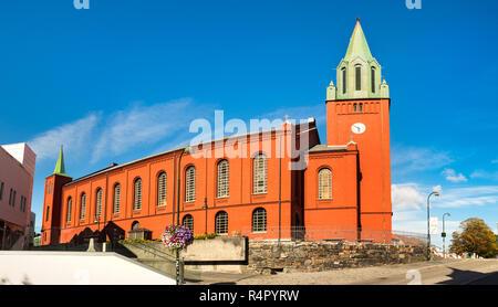 Panorama of the Saint Petri church, or 'Petrikirken' in Stavanger city centre, Norway. - Stock Photo