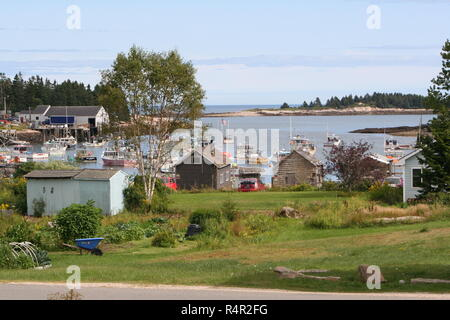 New England Harbor in Maine lobster village - Stock Photo