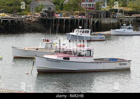 New England Shrimp Boats in Corea Maine Harbor - Stock Photo
