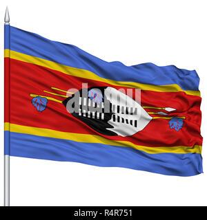 Swaziland Flag on Flagpole - Stock Photo