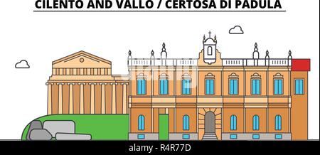 Cilento And Vallo - Certosa Di Padula  line travel landmark, skyline, vector design. Cilento And Vallo - Certosa Di Padula  linear illustration.  - Stock Photo