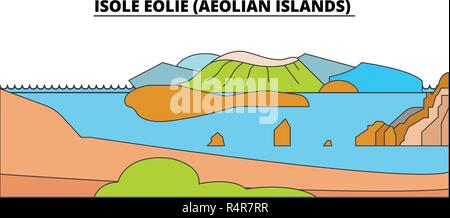 Isole Eolie (Aeolian Islands)  line travel landmark, skyline, vector design. Isole Eolie (Aeolian Islands)  linear illustration.  - Stock Photo