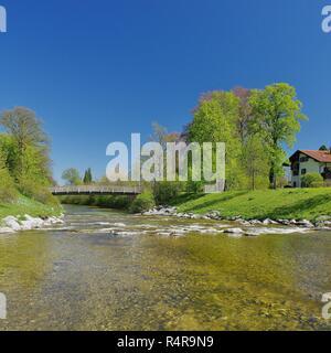 view of the prien in aschau im chiemgau,upper bavaria,southern germany - Stock Photo