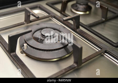 Used gas kitchen stove - Stock Photo