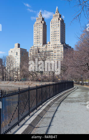 New York City, Central Park with Jacqueline Kennedy Onassis Reservoir. - Stock Photo