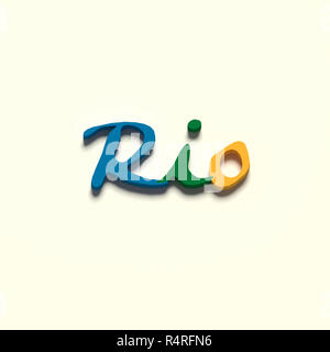 3D RENDERING WORDS 'RIO' ON PLAIN BACKGROUND - Stock Photo