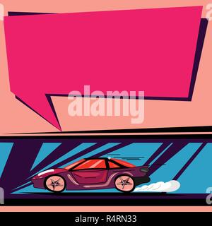 Design business concept Empty copy space modern abstract background. Car with Fast Movement icon and Exhaust Smoke Blank Color Speech Bubble - Stock Photo
