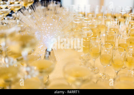 Lot of champagne glasses - Stock Photo