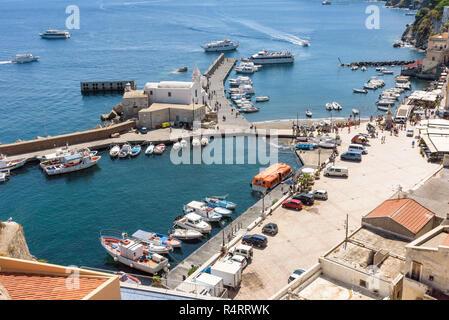 Aerial view of Marina Corta at the port of Lipari, Aeolian Islands, Italy - Stock Photo