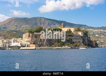 View of the Castle rock on Lipari Island, Aeolian Islands, Italy - Stock Photo