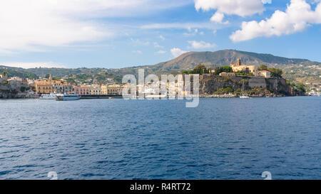 Lipari town seen from the sea, Aeolian Islands, Itay - Stock Photo