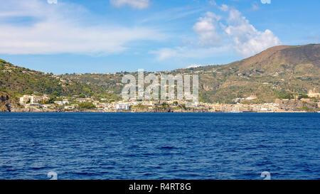 Lipari town seen from the sea, Aeolian Islands, Italy - Stock Photo