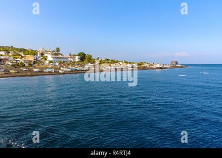 View of coast of Stromboli Island, Aeolian Islands, Italy - Stock Photo