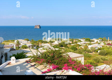 View of white rooftops in Stromboli, Aeolian Islands, Italy - Stock Photo