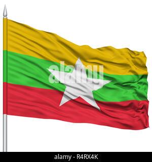 Myanmar Flag on Flagpole - Stock Photo