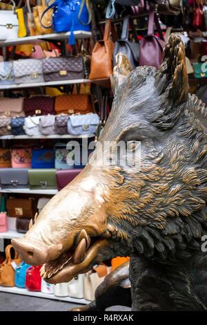 Il Porcellino statue in the Mercato Nuovo in Florence, Italy. - Stock Photo