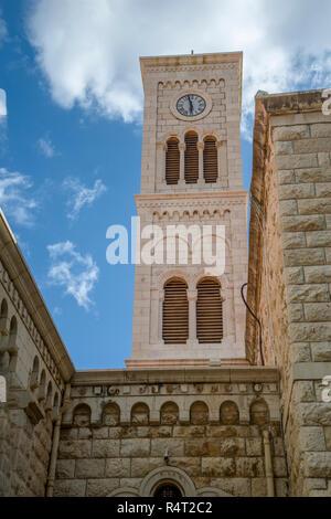 Tower clock of church of  st. Joseph in Nazareth, Israel - Stock Photo