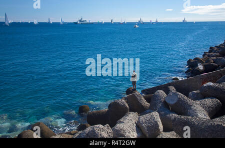 LAS PALMAS, SPAIN - NOVEMBER 25: Yachts are waiting for the signal to start ARC 2018, Atlantic Rally for Cruisers on November 25, 2018 in Las Palmas d - Stock Photo
