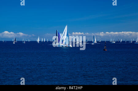 LAS PALMAS, SPAIN - NOVEMBER 25: Yachts are waiting for the signal to start ARC 2018, Atlantic Rally for Cruisers, on November 25, 2018 in Las Palmas  - Stock Photo