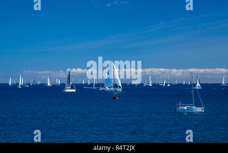 LAS PALMAS, SPAIN - NOVEMBER 25: Yachts are waiting for the signal to start ARC 2018,   Atlantic Rally for Cruisers, on November 25, 2018 in Las Palma - Stock Photo