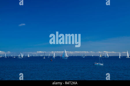 LAS PALMAS, SPAIN - NOVEMBER 25:  Yachts are waiting for the signal to start ARC 2018,   Atlantic Rally for Cruisers, on November 25, 2018 in Las Palm - Stock Photo
