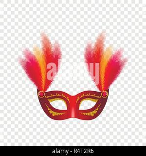 Carnival mask venetian mockup set. Realistic illustration of 4 carnival mask venetian mockups for on transparent background - Stock Photo