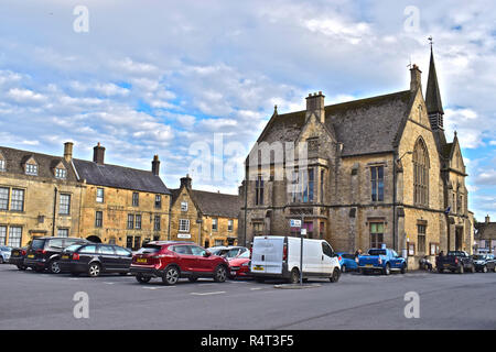 St Edwards Hall in the market square, also houses the local library and visitor centre in Stow-on-the-Wold,Cotswolds,Gloucestershire - Stock Photo