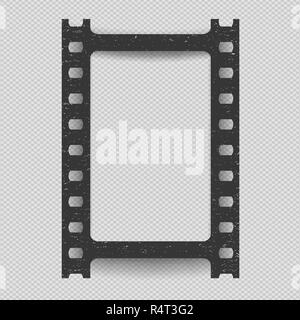 Black vertical scratched grunge film strip with shadow on squared background. Vector illustration. - Stock Photo