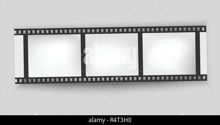Black scratched grunge film strip with shadow on squared background. Vector. - Stock Photo