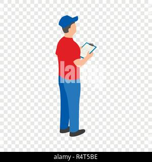 Man checking warehouse icon. Isometric of man checking warehouse vector icon for on transparent background - Stock Photo