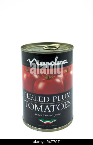 Largs, Scotland, UK - November 22, 2018: Napolina Branded Peeled Plum Tomatoes in Recyclable Aluminium can & Isolated on a white Background and inline - Stock Photo