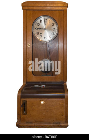 old time clock for time recording - Stock Photo