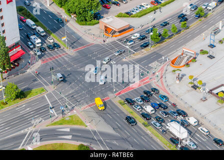 View on traffic crossroad from radio tower Berlin - Stock Photo