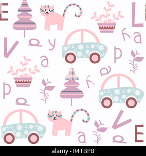 Cute kids abstract vector seamless pattern. It is located in swatch menu. Colorful background for design - Stock Photo