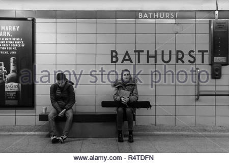 Toronto, Ontario, Canada-November 27, 2018: TTC Bathurst subway station. The Toronto Transit Commision public transportation system is the largest and - Stock Photo