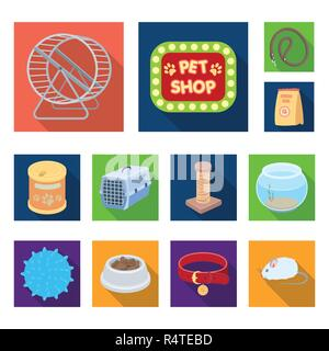 Pet shop flat icons in set collection for design.The goods for animals vector symbol stock  illustration. - Stock Photo