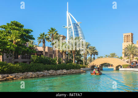 DUBAI, UAE - NOV 12, 2018: View of Burj Al Arab hotel from Madinat Jumeirah hotel. Madinat is a luxury resort which includes hotels and souk covering