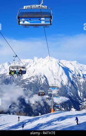 Panoramic snowmountain view from Kals-Matreis to 60 3000 meters high Taurern Peaks - Stock Photo
