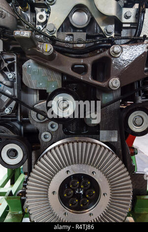 Fragment of the old internal combustion engine, close-up. Background. - Stock Photo
