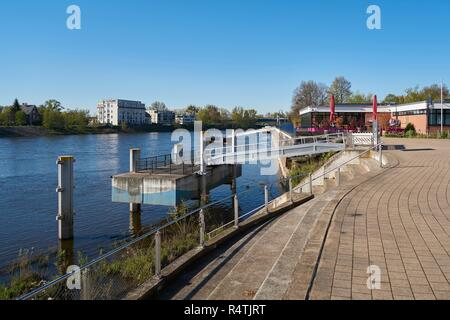 promenade on the elbe near magdeburg - Stock Photo